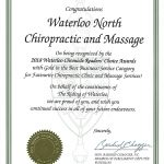 2018 Waterloo Chronicle Reader's Choice Awards - Gold Winner, Chiropractic Clinic and Massage Services